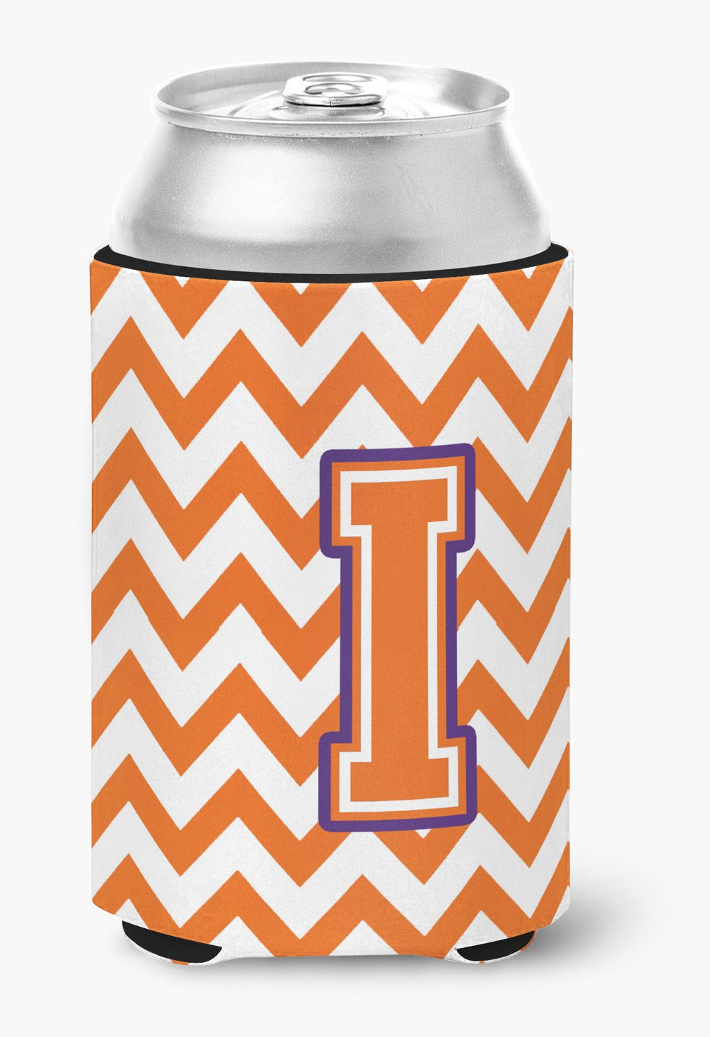 Letter I Chevron Orange and Regalia Can or Bottle Hugger CJ1062-ICC by Caroline's Treasures
