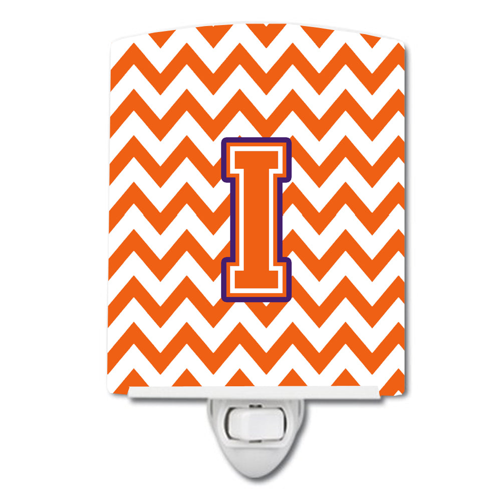 Letter I Chevron Orange and Regalia Ceramic Night Light CJ1062-ICNL by Caroline's Treasures