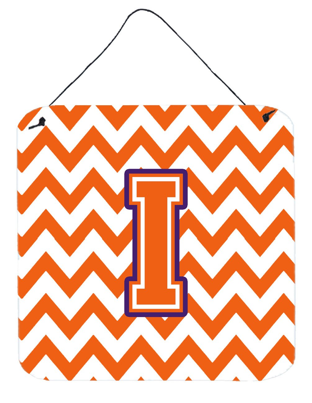 Letter I Chevron Orange and Regalia Wall or Door Hanging Prints CJ1062-IDS66 by Caroline's Treasures