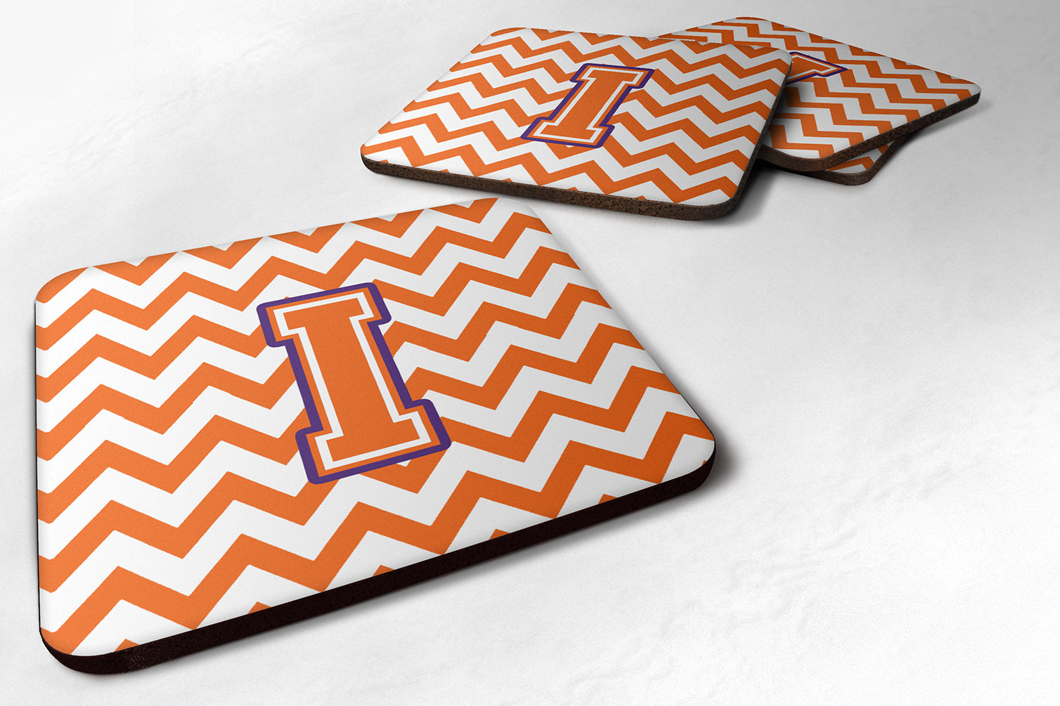Letter I Chevron Orange and Regalia Foam Coaster Set of 4 CJ1062-IFC by Caroline's Treasures