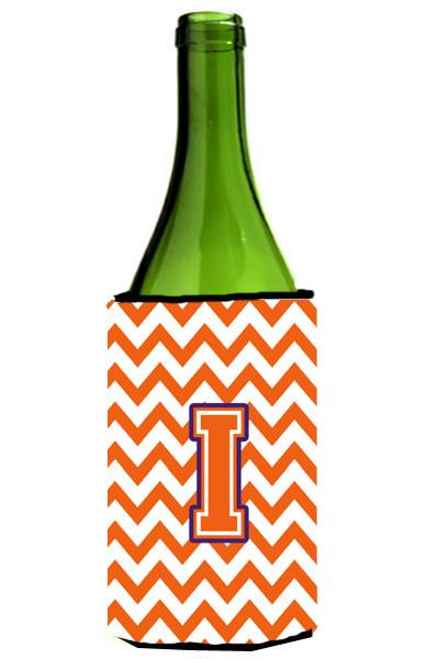 Letter I Chevron Orange and Regalia Wine Bottle Beverage Insulator Hugger CJ1062-ILITERK by Caroline's Treasures