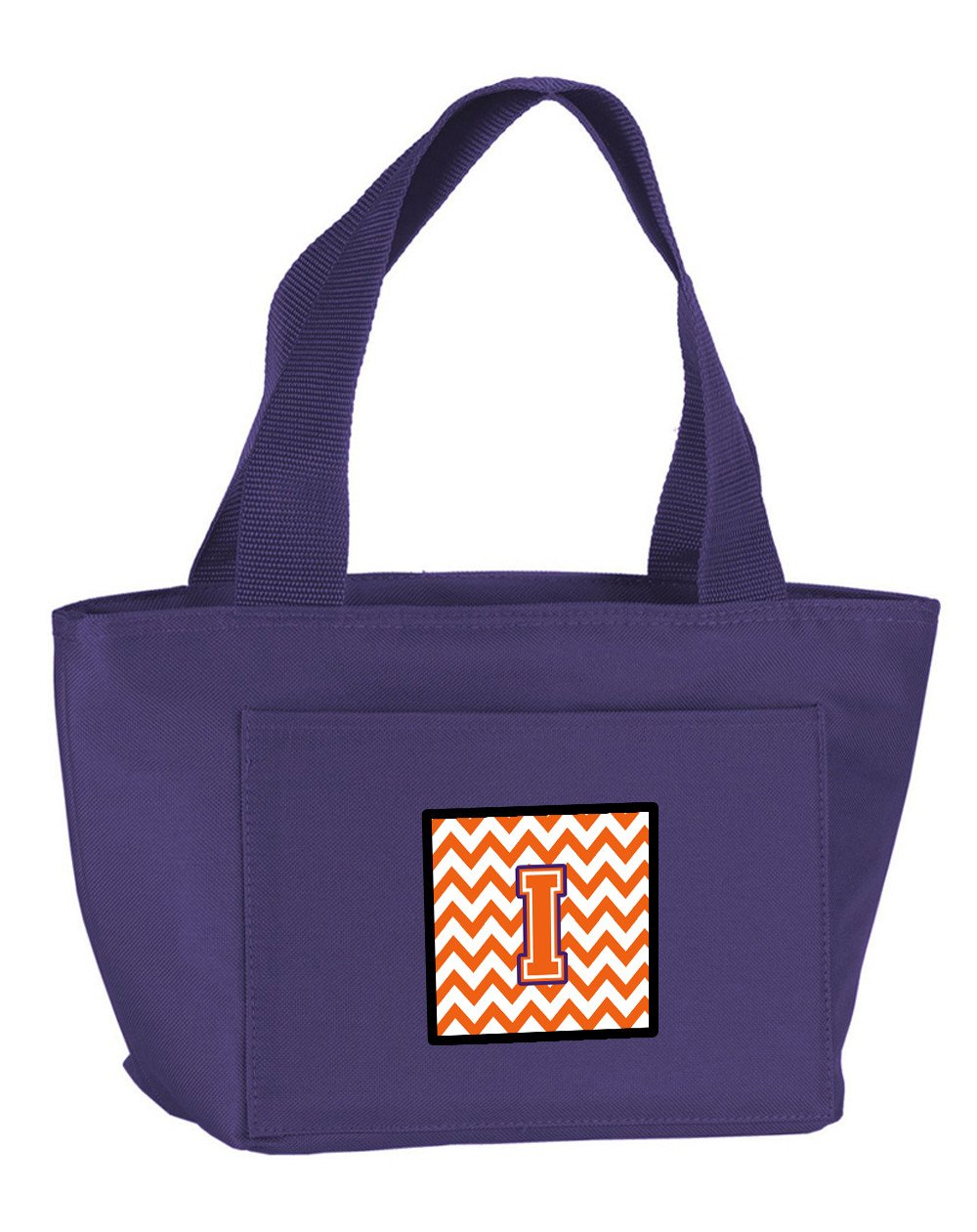 Letter I Chevron Orange and Regalia Lunch Bag CJ1062-IPR-8808 by Caroline's Treasures