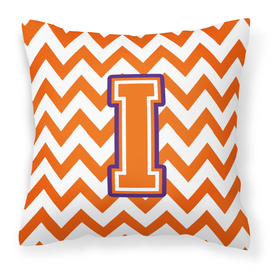 Letter I Chevron Orange and Regalia Fabric Decorative Pillow CJ1062-IPW1414 by Caroline's Treasures