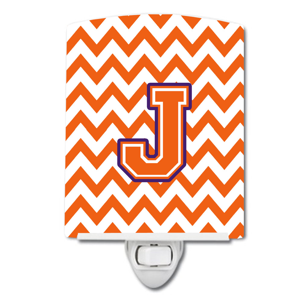 Letter J Chevron Orange and Regalia Ceramic Night Light CJ1062-JCNL by Caroline's Treasures