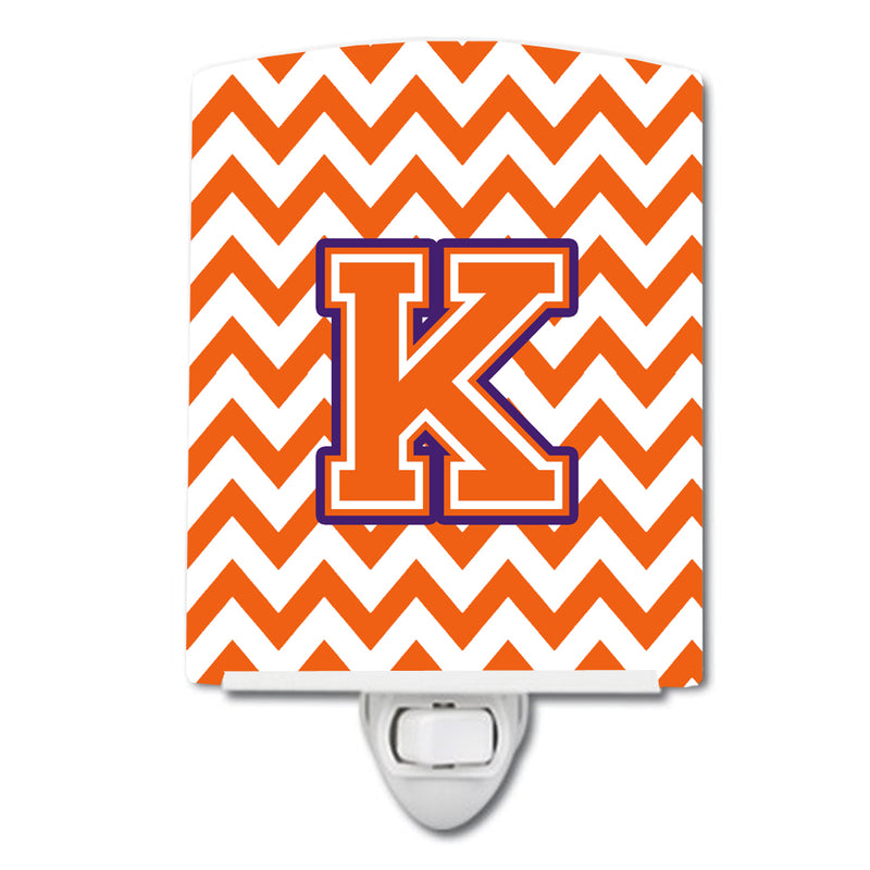 Buy this Letter K Chevron Orange and Regalia Ceramic Night Light CJ1062-KCNL