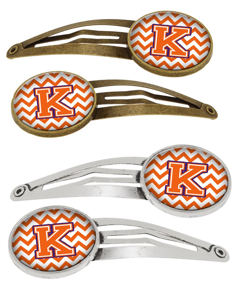 Buy this Letter K Chevron Orange and Regalia Set of 4 Barrettes Hair Clips CJ1062-KHCS4