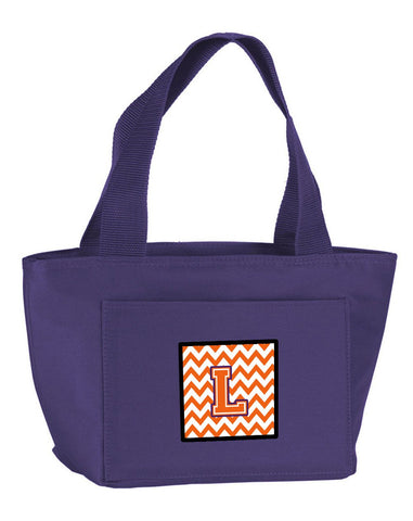 Buy this Letter L Chevron Orange and Regalia Lunch Bag CJ1062-LPR-8808