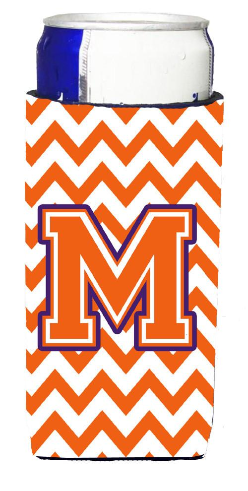 Letter M Chevron Orange and Regalia Ultra Beverage Insulators for slim cans CJ1062-MMUK by Caroline's Treasures