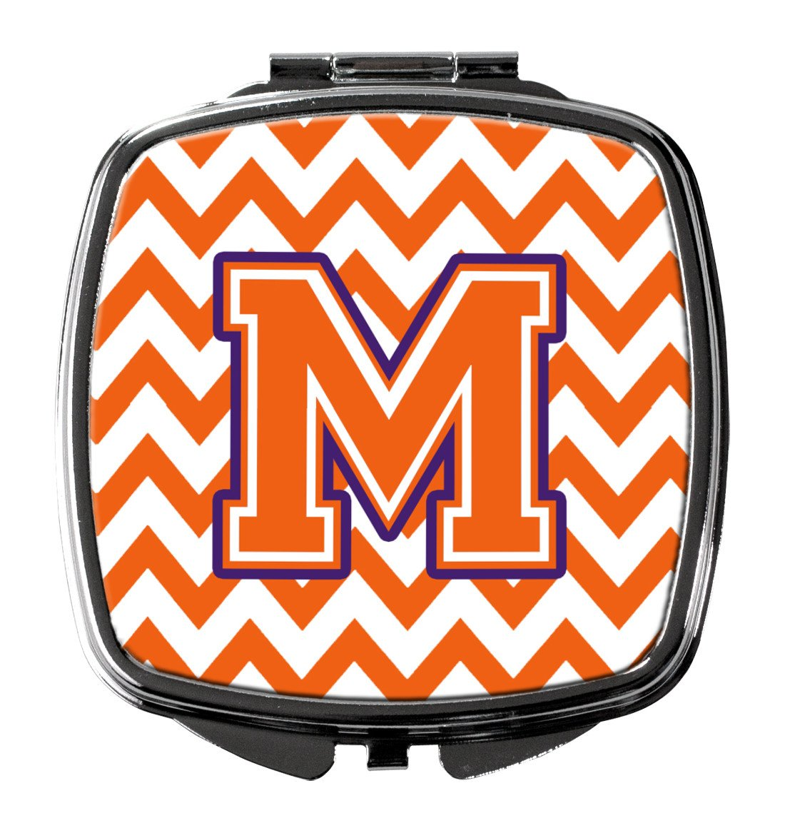 Letter M Chevron Orange and Regalia Compact Mirror CJ1062-MSCM by Caroline's Treasures