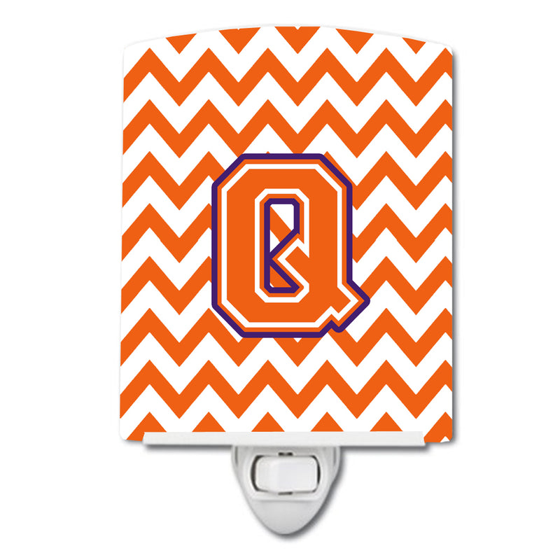 Buy this Letter Q Chevron Orange and Regalia Ceramic Night Light CJ1062-QCNL