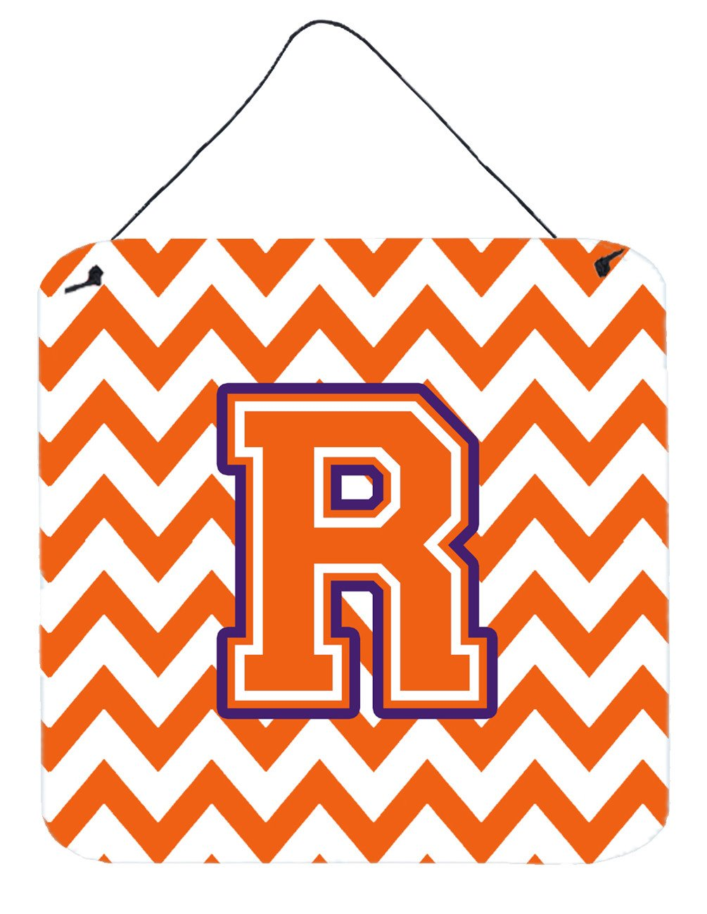 Letter R Chevron Orange and Regalia Wall or Door Hanging Prints CJ1062-RDS66 by Caroline's Treasures