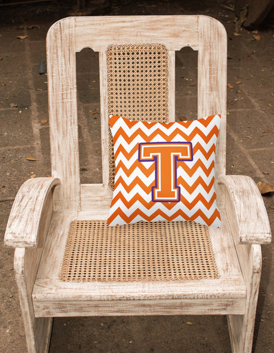 Letter T Chevron Orange and Regalia Fabric Decorative Pillow CJ1062-TPW1414