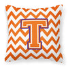 Buy this Letter T Chevron Orange and Regalia Fabric Decorative Pillow CJ1062-TPW1414