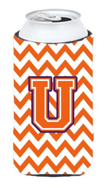 Buy this Letter U Chevron Orange and Regalia Tall Boy Beverage Insulator Hugger CJ1062-UTBC
