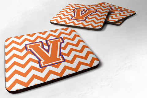 Buy this Letter V Chevron Orange and Regalia Foam Coaster Set of 4 CJ1062-VFC