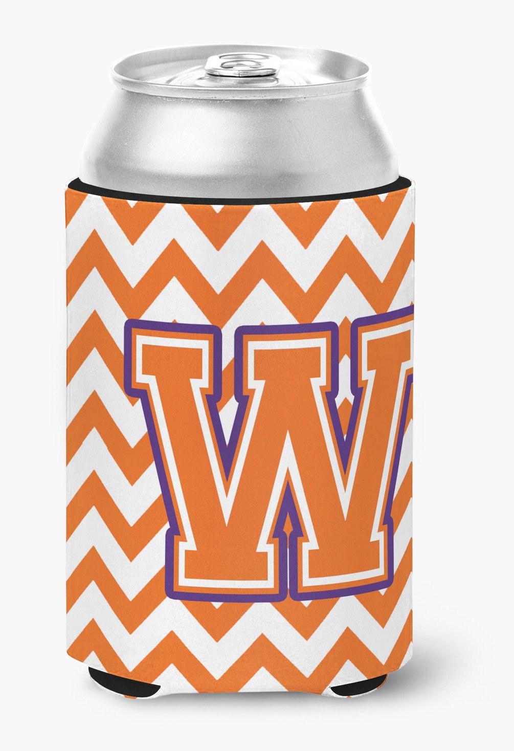 Buy this Letter W Chevron Orange and Regalia Can or Bottle Hugger CJ1062-WCC
