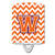 Buy this Letter W Chevron Orange and Regalia Ceramic Night Light CJ1062-WCNL