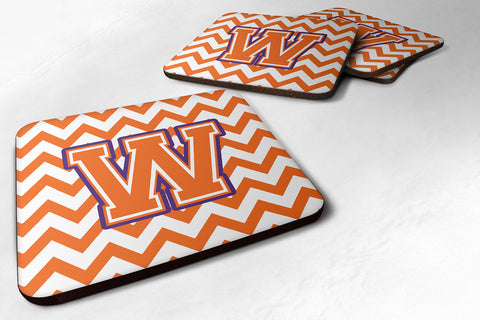 Buy this Letter W Chevron Orange and Regalia Foam Coaster Set of 4 CJ1062-WFC