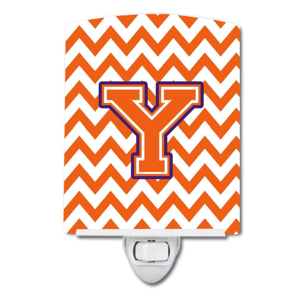 Buy this Letter Y Chevron Orange and Regalia Ceramic Night Light CJ1062-YCNL