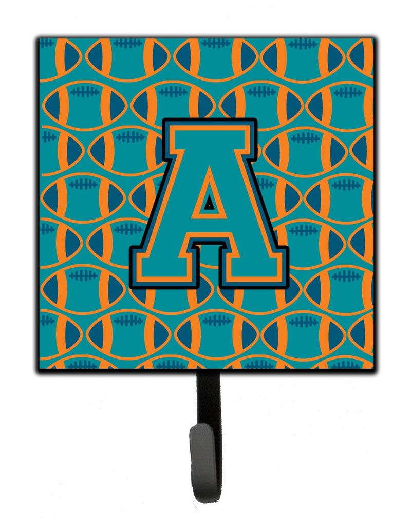 Buy this Letter A Football Aqua, Orange and Marine Blue Leash or Key Holder CJ1063-ASH4