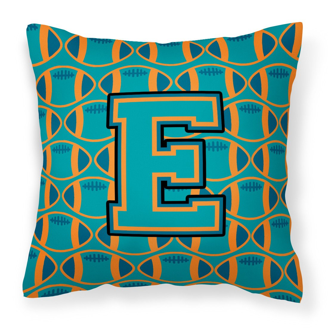 Letter E Football Aqua, Orange and Marine Blue Fabric Decorative Pillow CJ1063-EPW1414 by Caroline's Treasures