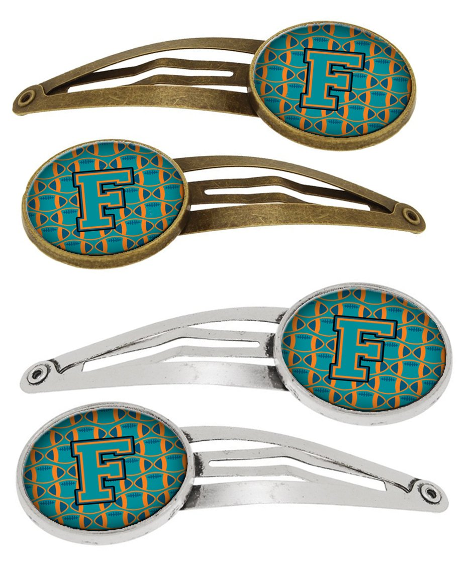 Buy this Letter F Football Aqua, Orange and Marine Blue Set of 4 Barrettes Hair Clips CJ1063-FHCS4