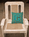 Letter G Football Aqua, Orange and Marine Blue Fabric Decorative Pillow CJ1063-GPW1414 by Caroline's Treasures