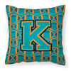 Letter K Football Aqua, Orange and Marine Blue Fabric Decorative Pillow CJ1063-KPW1414 by Caroline's Treasures