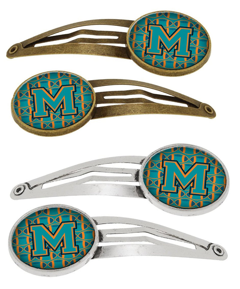 Buy this Letter M Football Aqua, Orange and Marine Blue Set of 4 Barrettes Hair Clips CJ1063-MHCS4