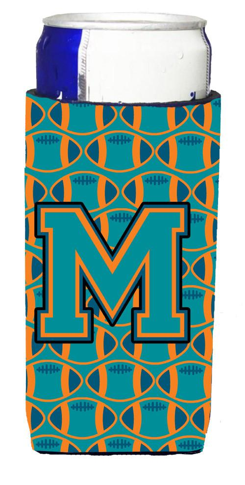Letter M Football Aqua, Orange and Marine Blue Ultra Beverage Insulators for slim cans CJ1063-MMUK by Caroline's Treasures