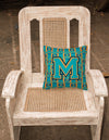 Letter M Football Aqua, Orange and Marine Blue Fabric Decorative Pillow CJ1063-MPW1414 by Caroline's Treasures