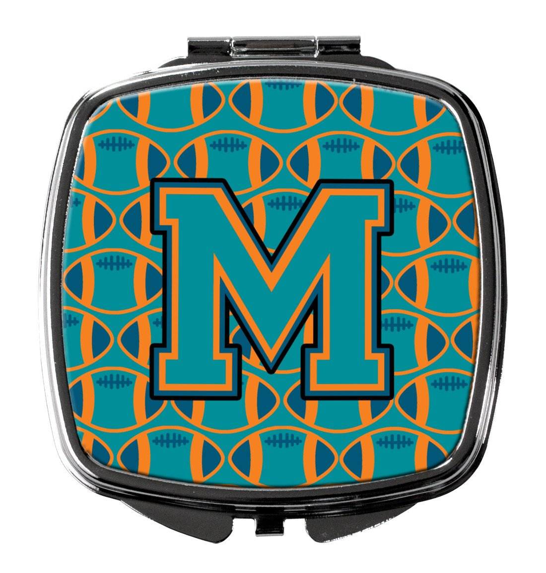 Letter M Football Aqua, Orange and Marine Blue Compact Mirror CJ1063-MSCM by Caroline's Treasures