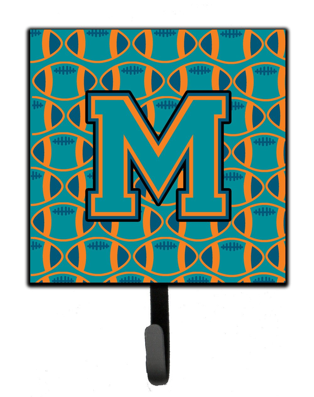 Letter M Football Aqua, Orange and Marine Blue Leash or Key Holder CJ1063-MSH4 by Caroline's Treasures