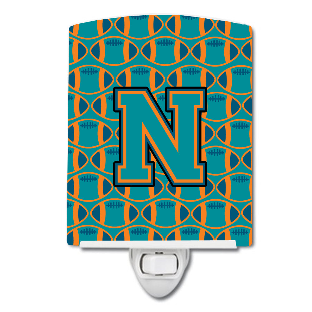 Buy this Letter N Football Aqua, Orange and Marine Blue Ceramic Night Light CJ1063-NCNL