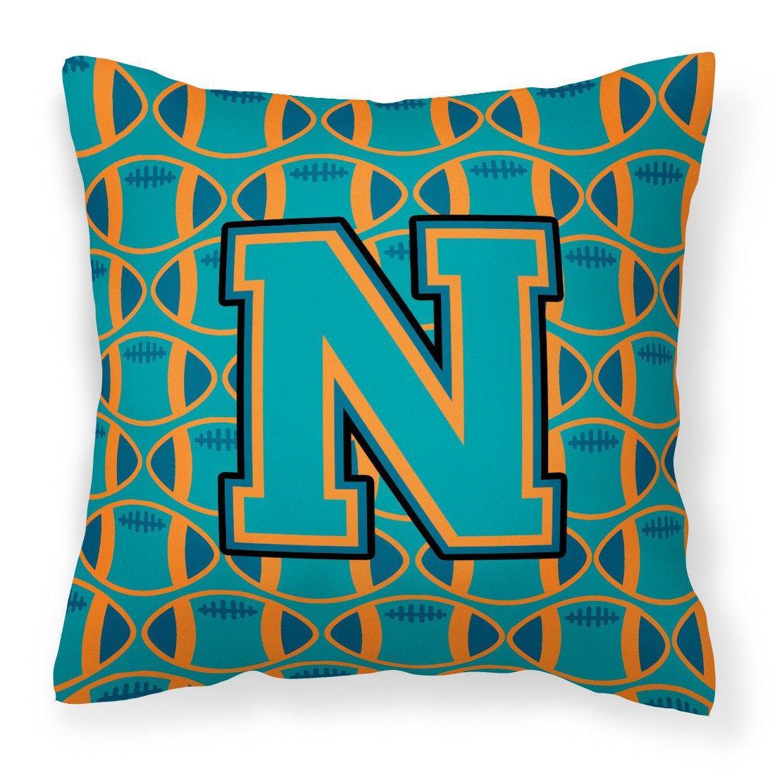 Letter N Football Aqua, Orange and Marine Blue Fabric Decorative Pillow CJ1063-NPW1414 by Caroline's Treasures