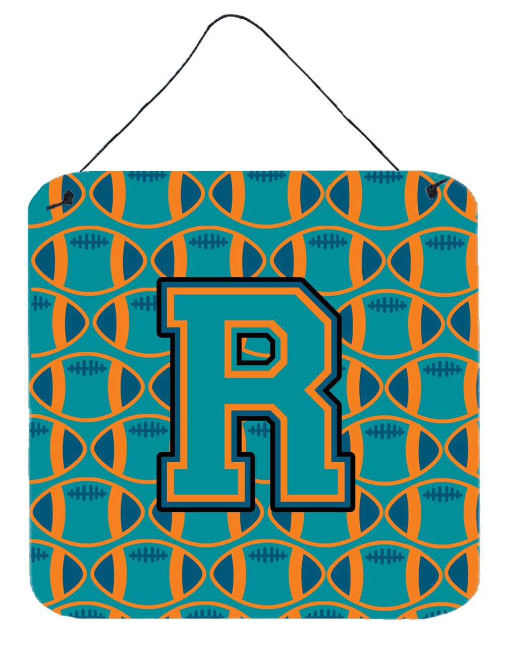 Letter R Football Aqua, Orange and Marine Blue Wall or Door Hanging Prints CJ1063-RDS66 by Caroline's Treasures