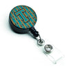 Letter T Football Aqua, Orange and Marine Blue Retractable Badge Reel CJ1063-TBR by Caroline's Treasures