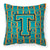 Letter T Football Aqua, Orange and Marine Blue Fabric Decorative Pillow CJ1063-TPW1414 by Caroline's Treasures