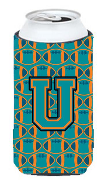 Buy this Letter U Football Aqua, Orange and Marine Blue Tall Boy Beverage Insulator Hugger CJ1063-UTBC