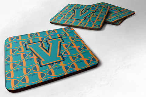 Buy this Letter V Football Aqua, Orange and Marine Blue Foam Coaster Set of 4 CJ1063-VFC