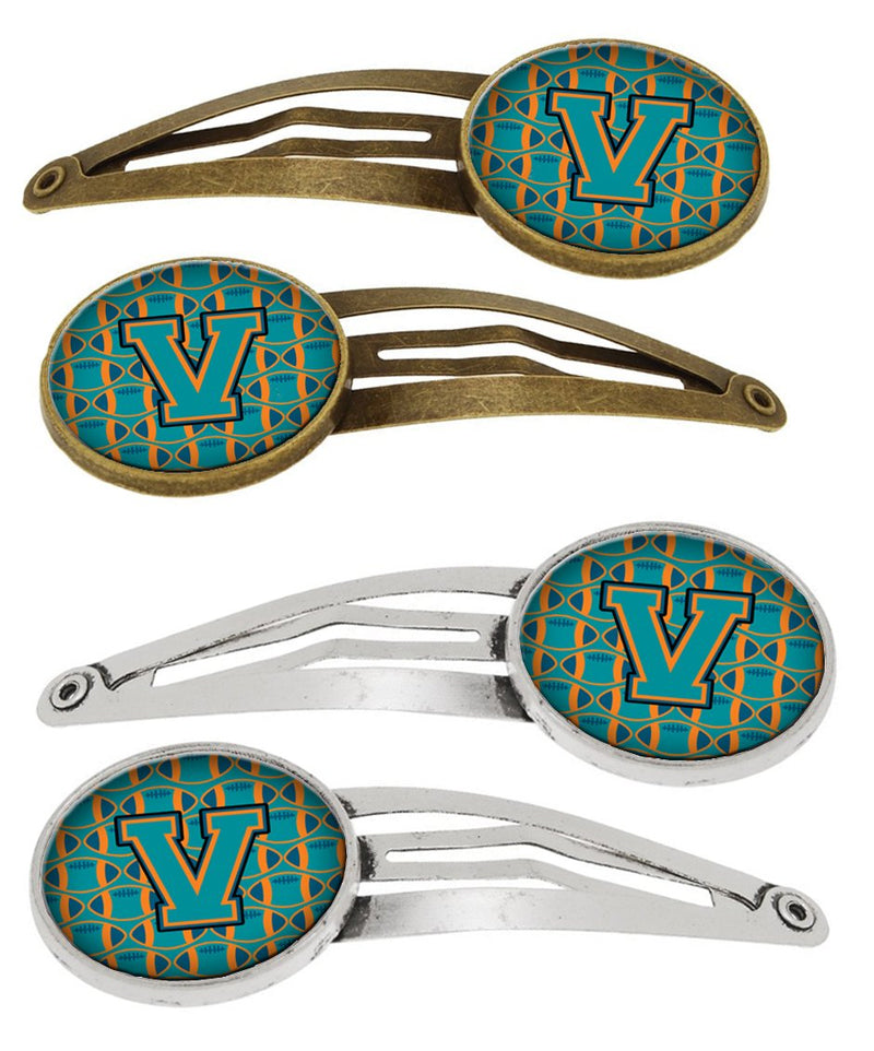 Buy this Letter V Football Aqua, Orange and Marine Blue Set of 4 Barrettes Hair Clips CJ1063-VHCS4