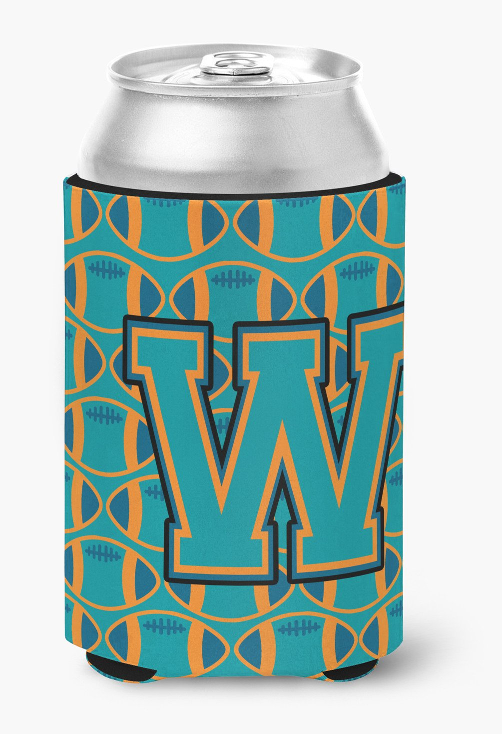 Buy this Letter W Football Aqua, Orange and Marine Blue Can or Bottle Hugger CJ1063-WCC