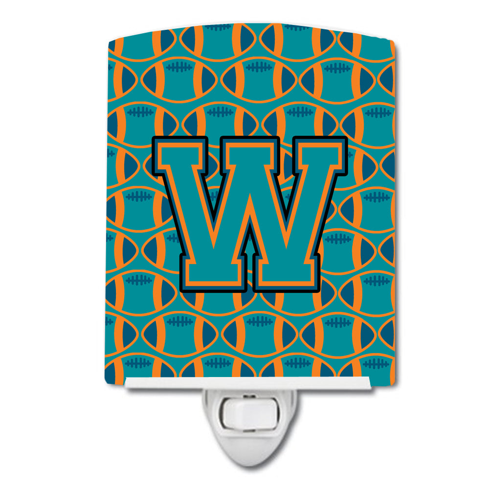 Buy this Letter W Football Aqua, Orange and Marine Blue Ceramic Night Light CJ1063-WCNL