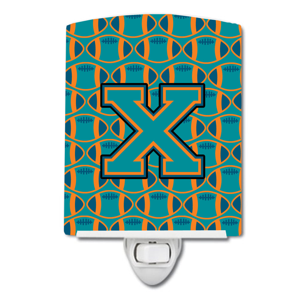 Letter X Football Aqua, Orange and Marine Blue Ceramic Night Light CJ1063-XCNL by Caroline's Treasures