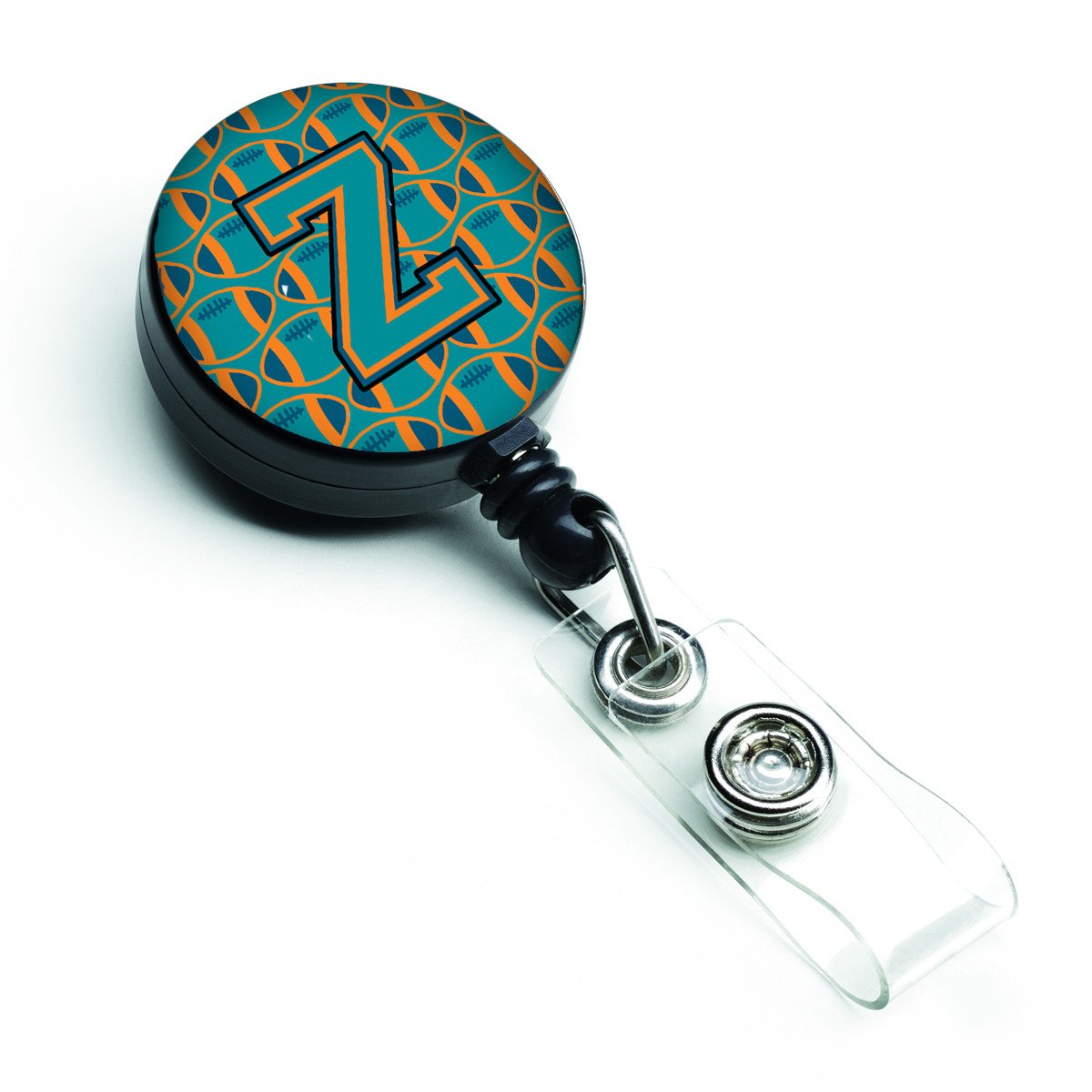 Letter Z Football Aqua, Orange and Marine Blue Retractable Badge Reel CJ1063-ZBR by Caroline's Treasures