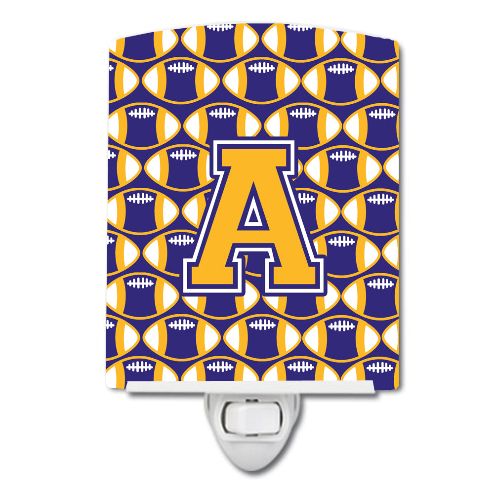 Buy this Letter A Football Purple and Gold Ceramic Night Light CJ1064-ACNL