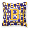Letter B Football Purple and Gold Fabric Decorative Pillow CJ1064-BPW1414 by Caroline's Treasures