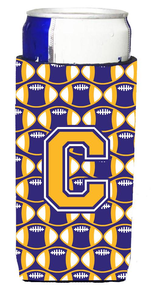 Buy this Letter C Football Purple and Gold Ultra Beverage Insulators for slim cans CJ1064-CMUK