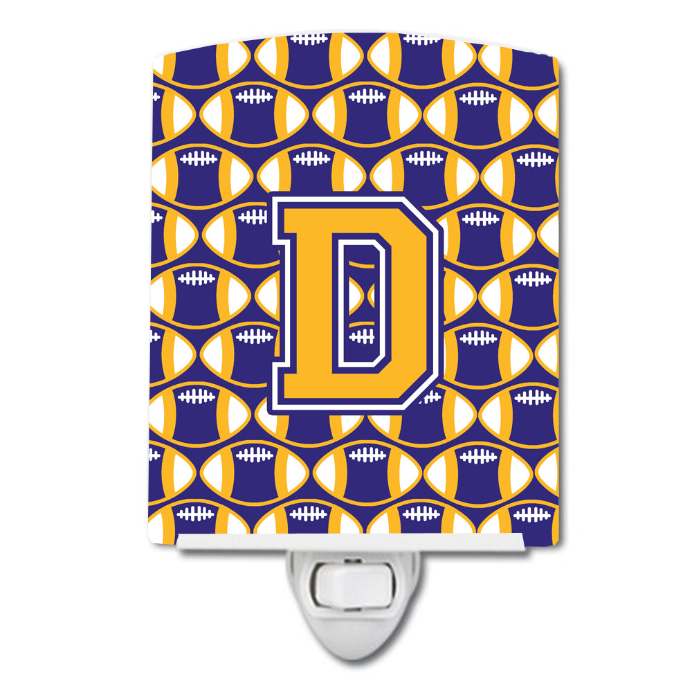 Letter D Football Purple and Gold Ceramic Night Light CJ1064-DCNL by Caroline's Treasures