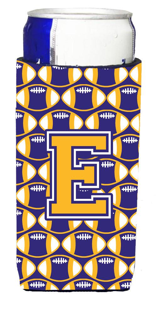 Letter E Football Purple and Gold Ultra Beverage Insulators for slim cans CJ1064-EMUK by Caroline's Treasures